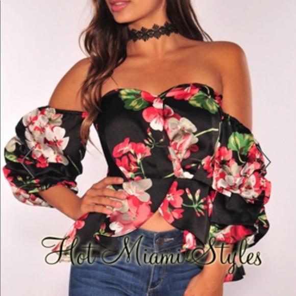 5f6283c1f2a435 miami hot styles Tops | Black Satin Floral Off Shoulder Top | Poshmark